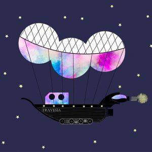 imagen de travesias sobre fondo azul un barco que vuela